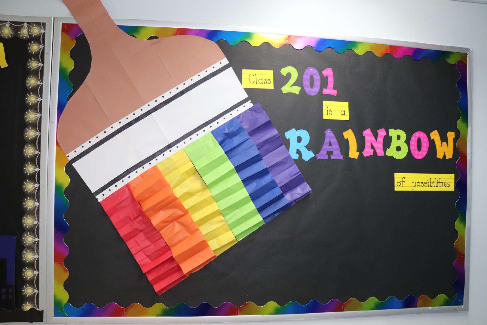 Class 201's rainbow bulletin board.