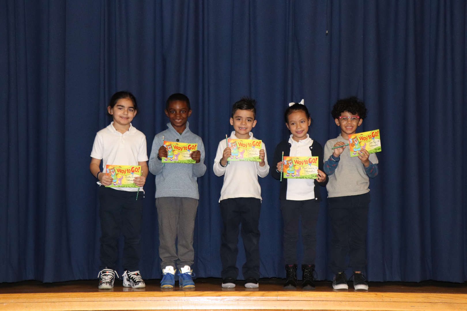 First Grade students of the month.