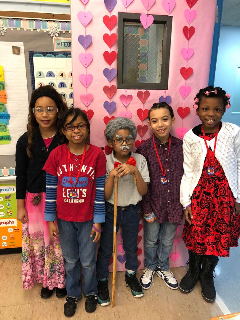 Students celebrating 100 day of school.