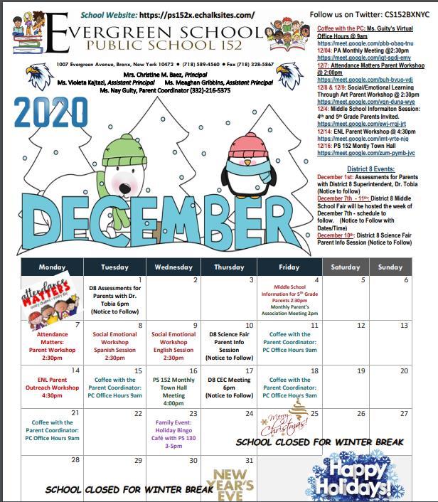 PS 152 December Calendar