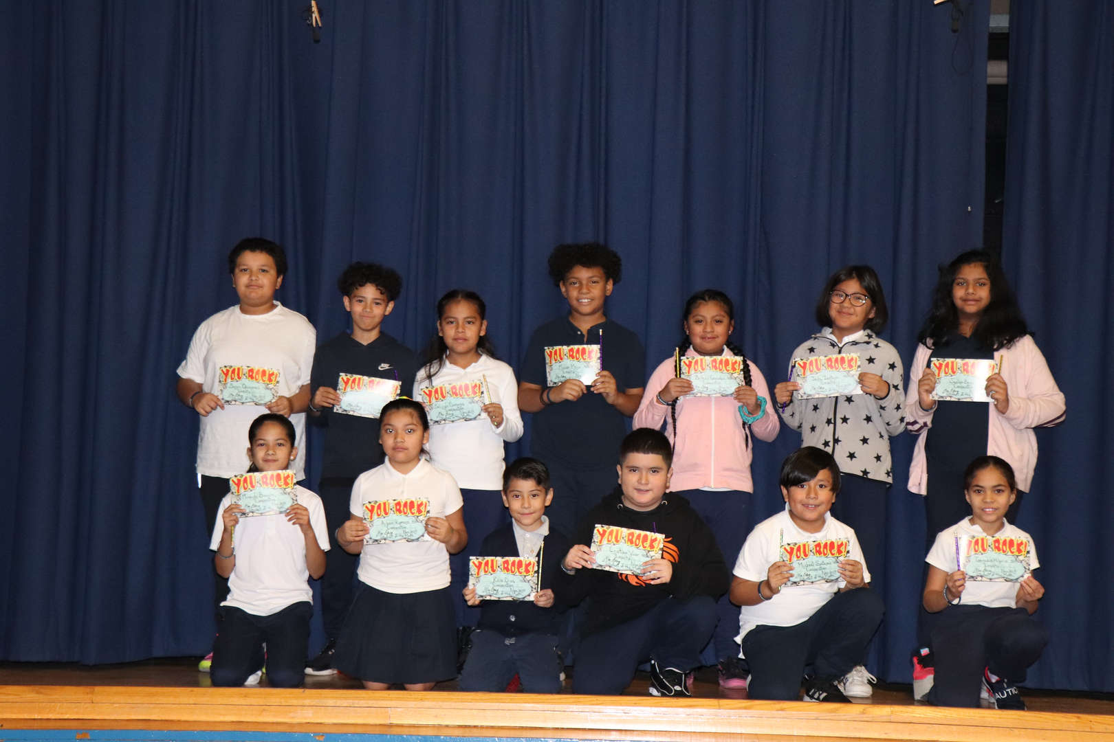 Fourth grade students of the month.