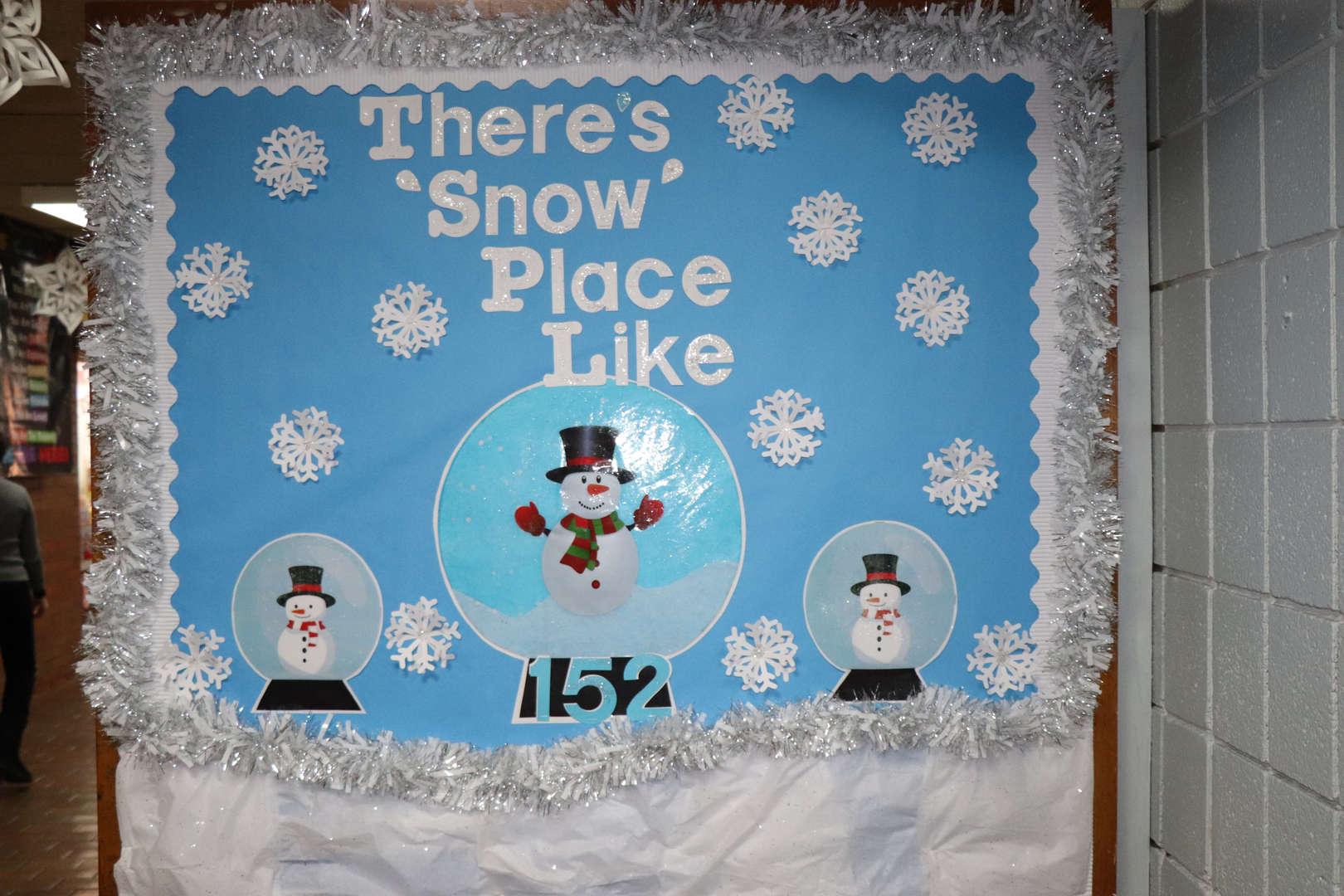 The winter bulletin board in the main lobby.