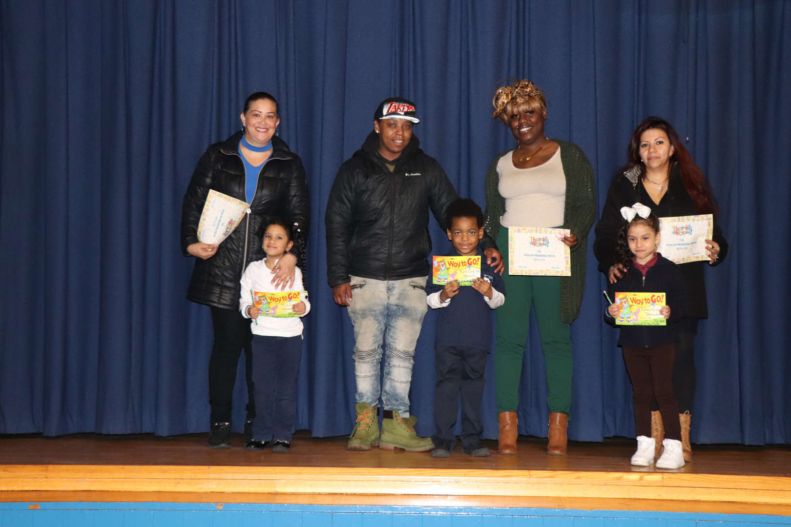 Kindergarten Parents with their children who are students of the month.