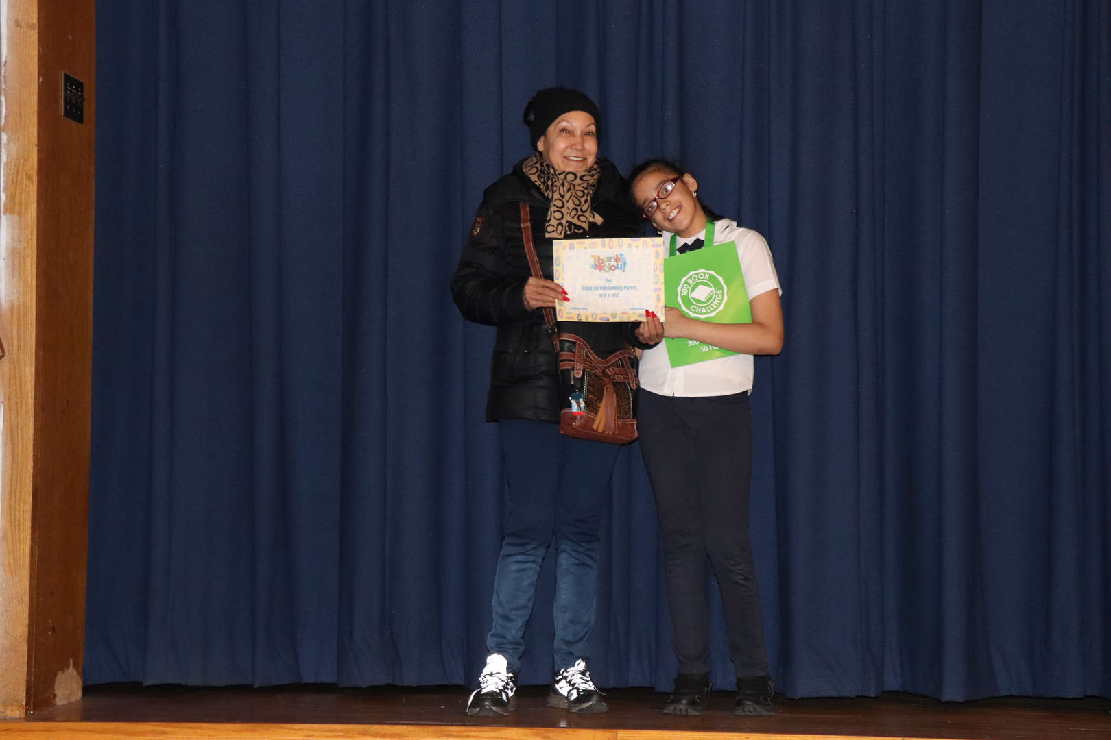 Fifth Grade Parent with her child who is student of the month.