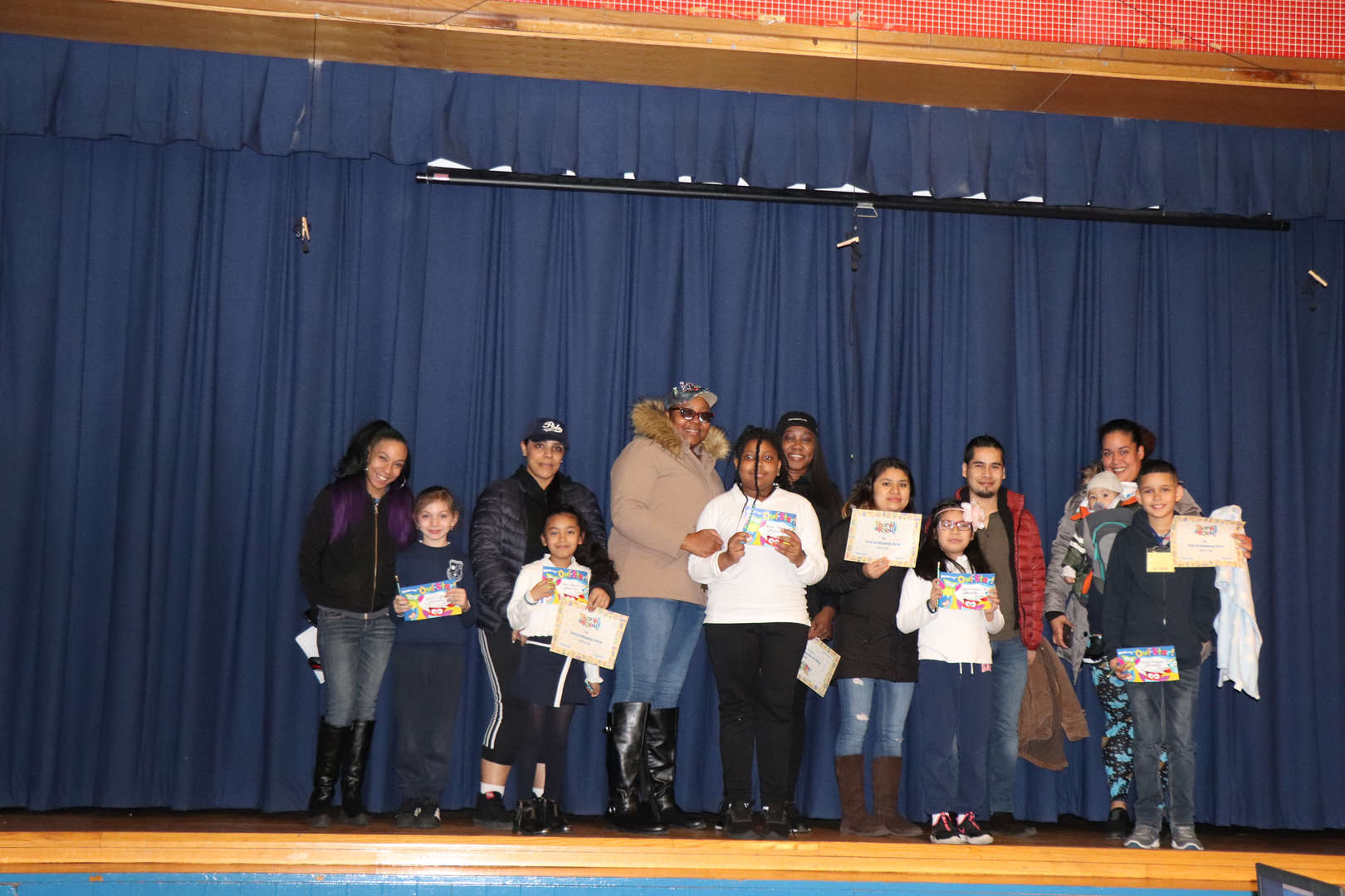 Fourth Grade Parents with their children who are student of the month.