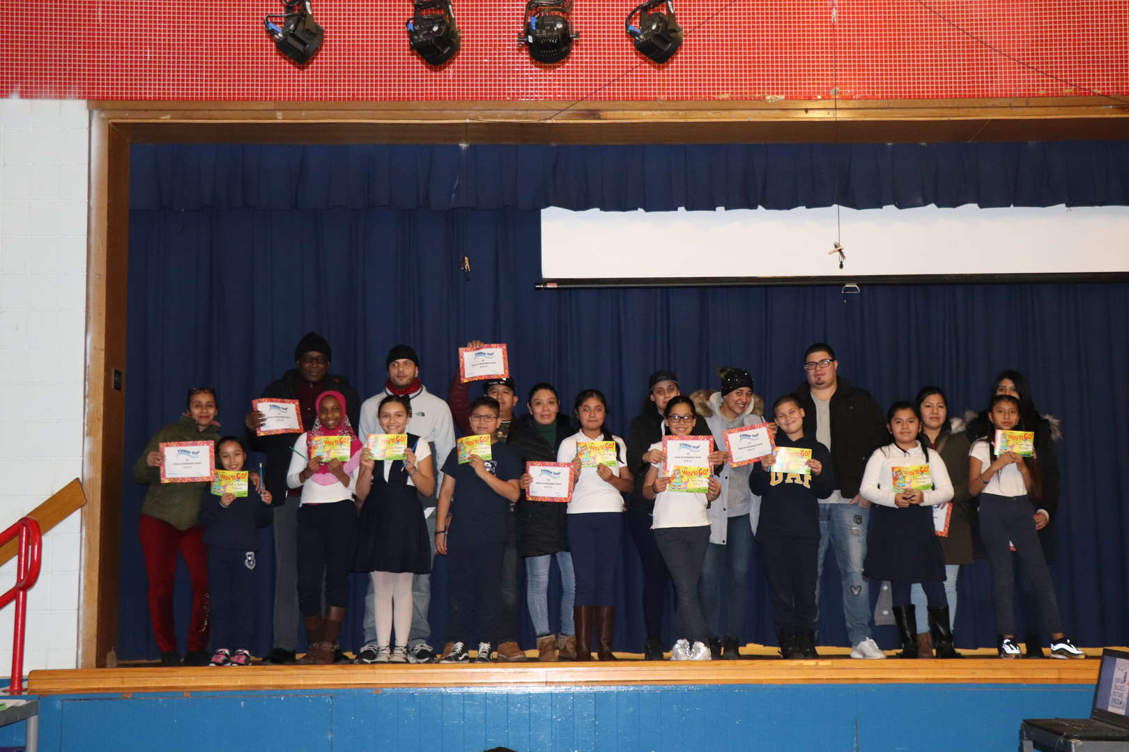 Fifth Grade Parents with their children who are student of the month.
