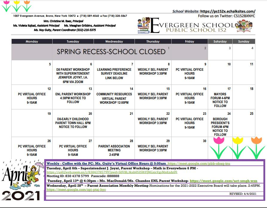 PS 152 April Calendar of Events