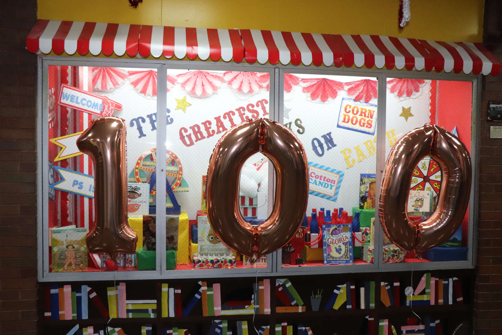 Main lobby decorated for Valentine's Day and 100th day of school.