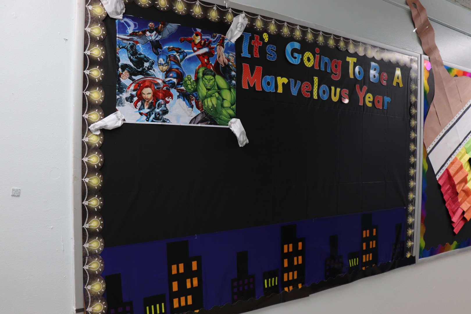 One classroom's marvel themed bulletin board.