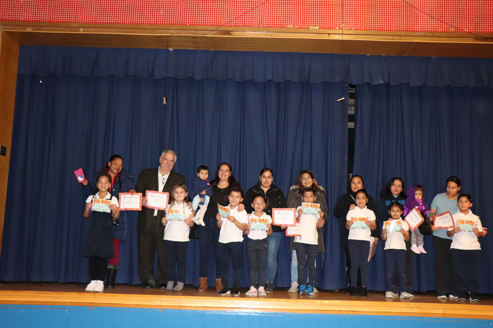 Second Grade parents with their children who are student of the month.