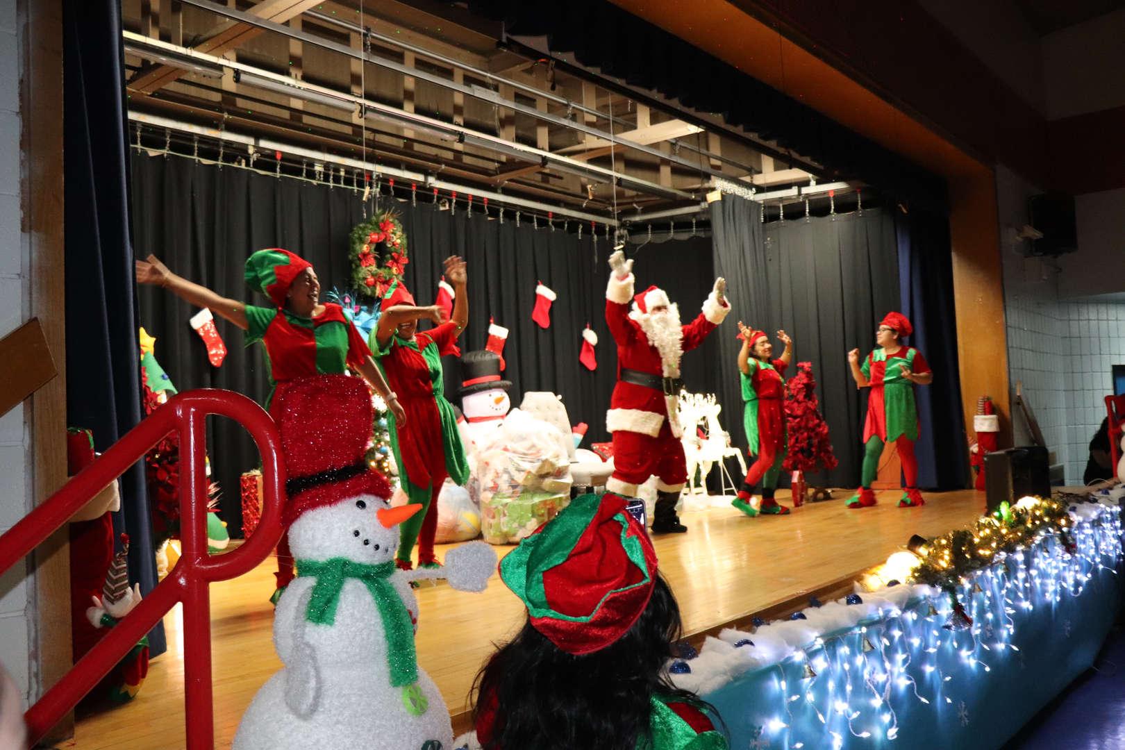 Santa Claus making an appearance at PS 152.