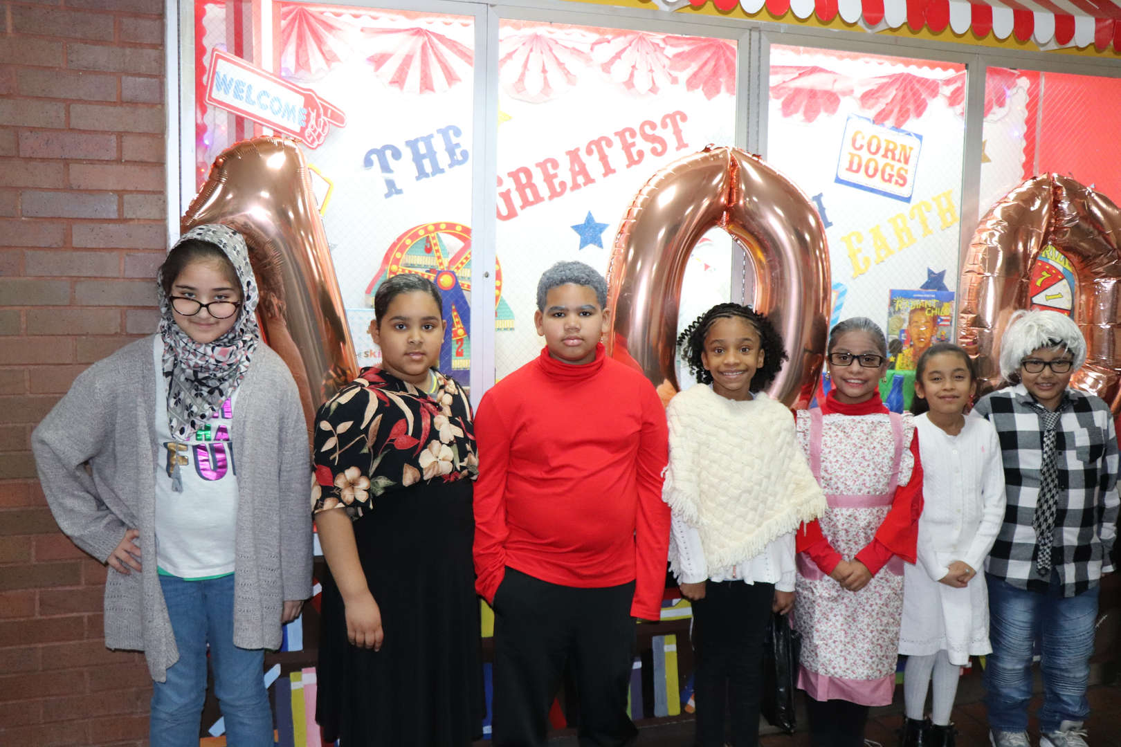 Fourth graders dressed like they are 100 years old.