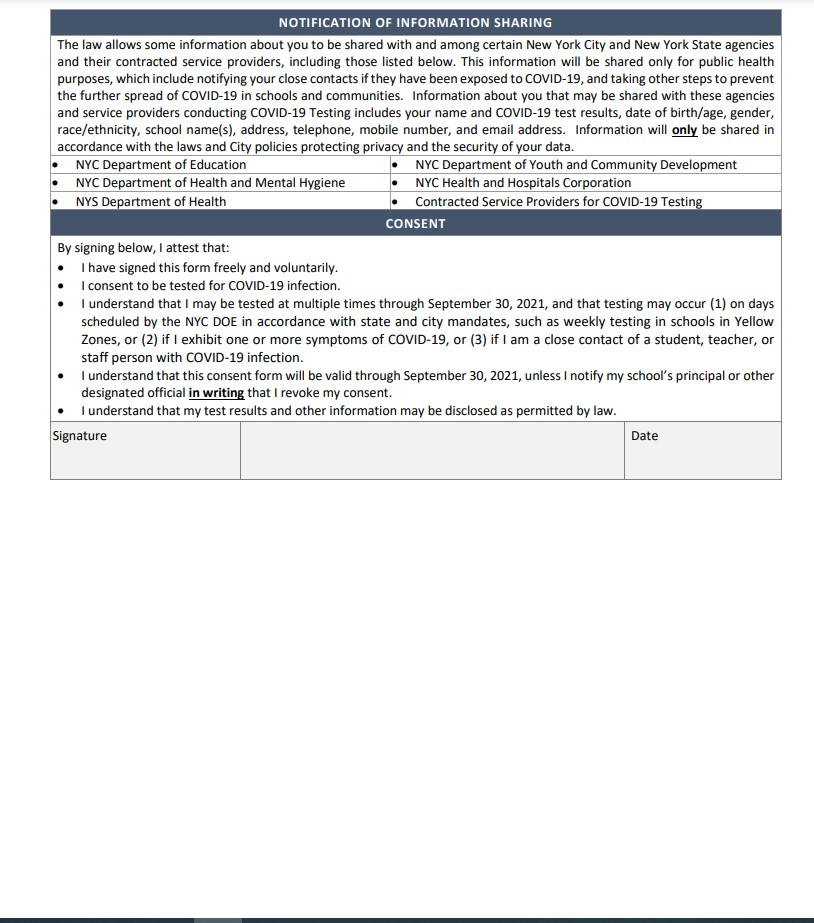 Staff COVID Consent Form Page 2