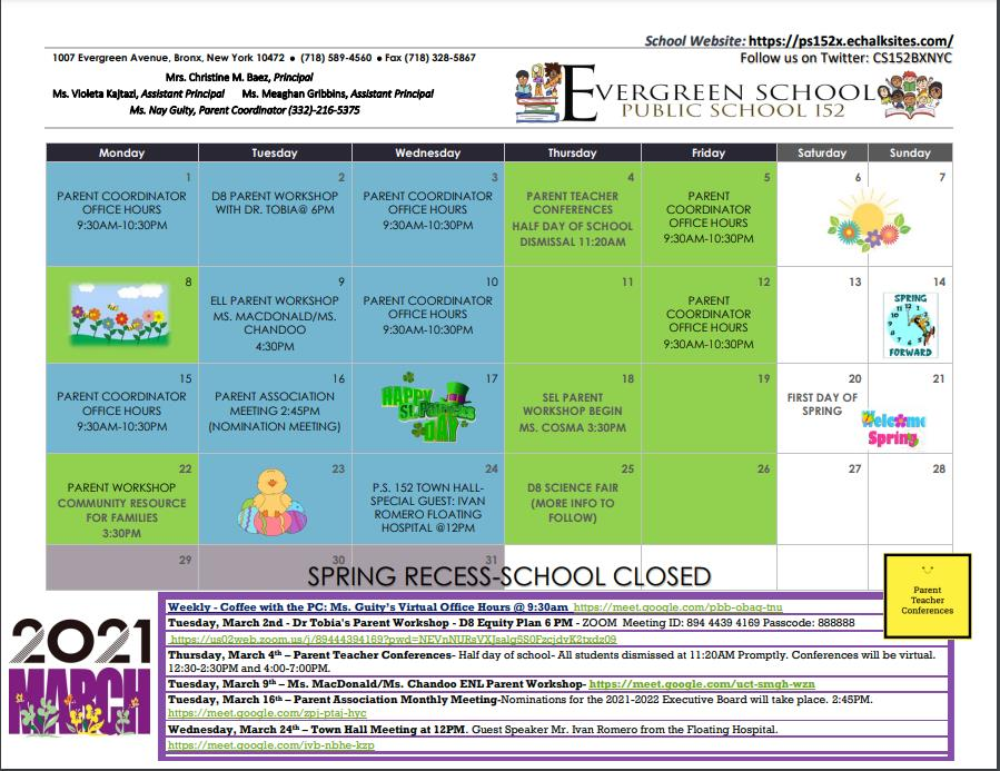 PS 152 March Calendar of events