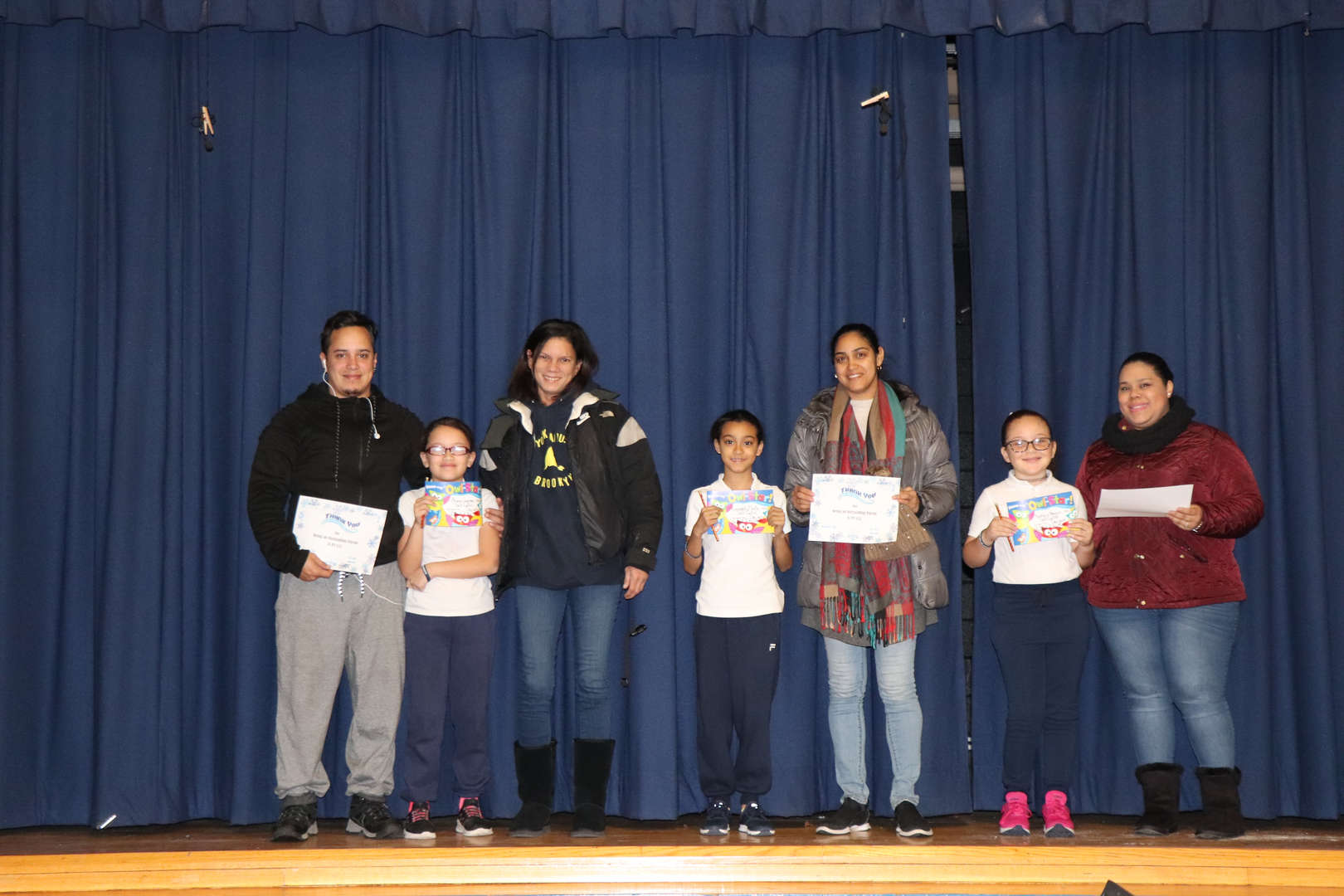 Fourth Grade Parents with their students of the month.