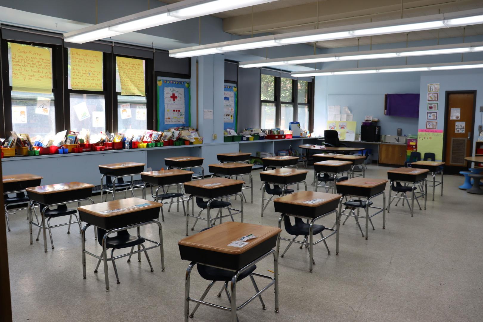 Kindergarten classroom with desk socially distanced