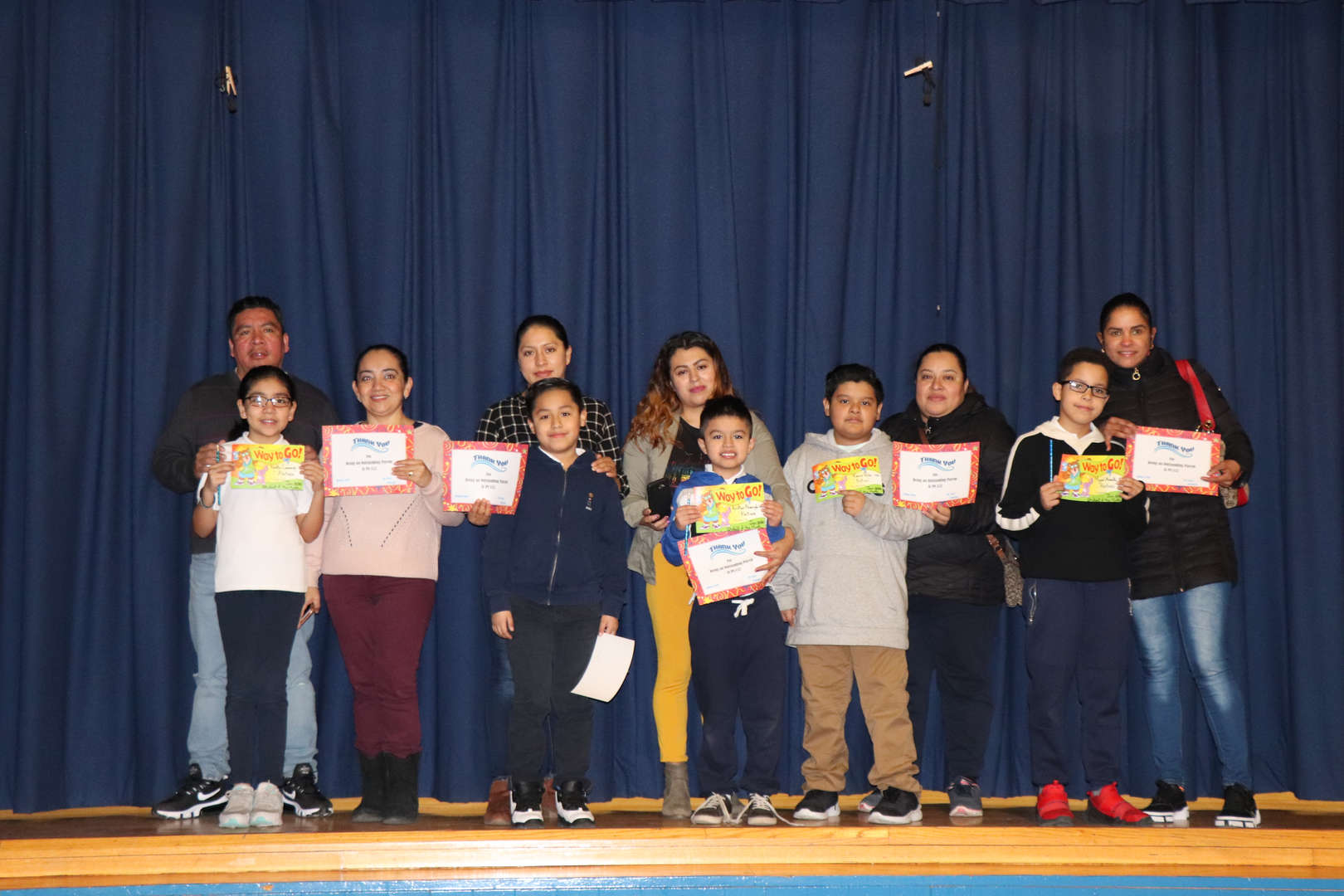 Third Grade Parents with their children who are students of the month.