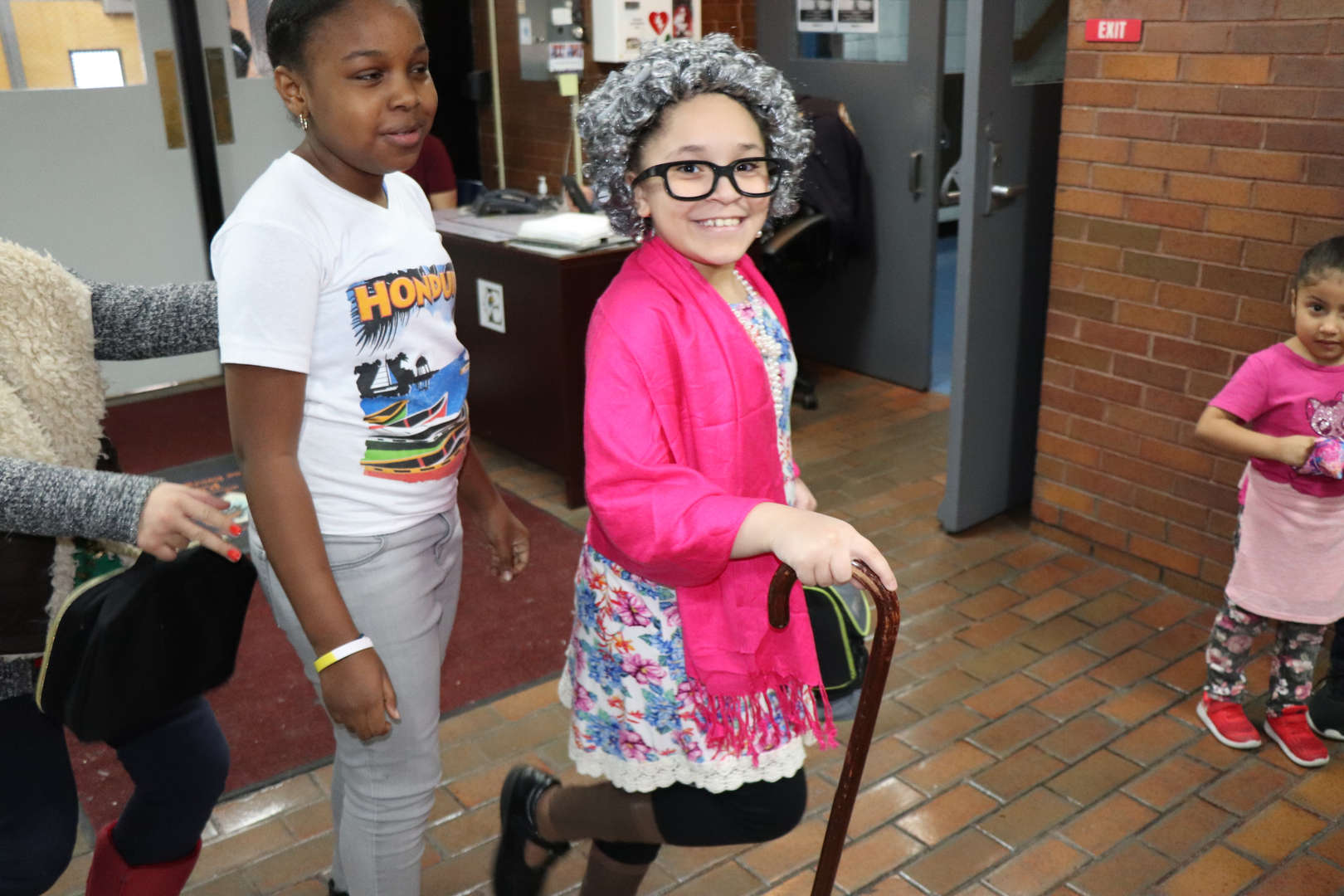 Student dressed like she is 100.