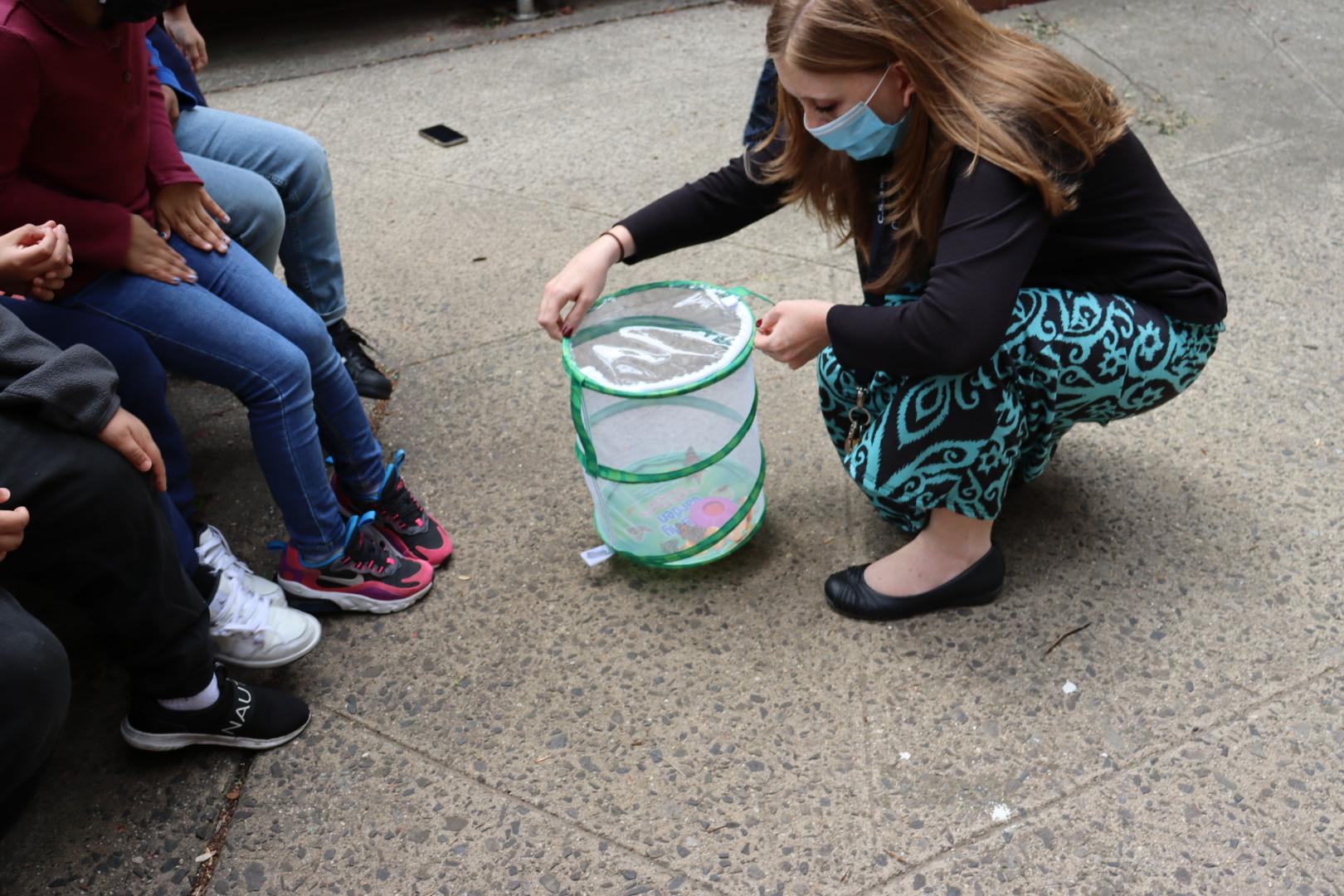 Ms. Kinney opening the butterfly habitat