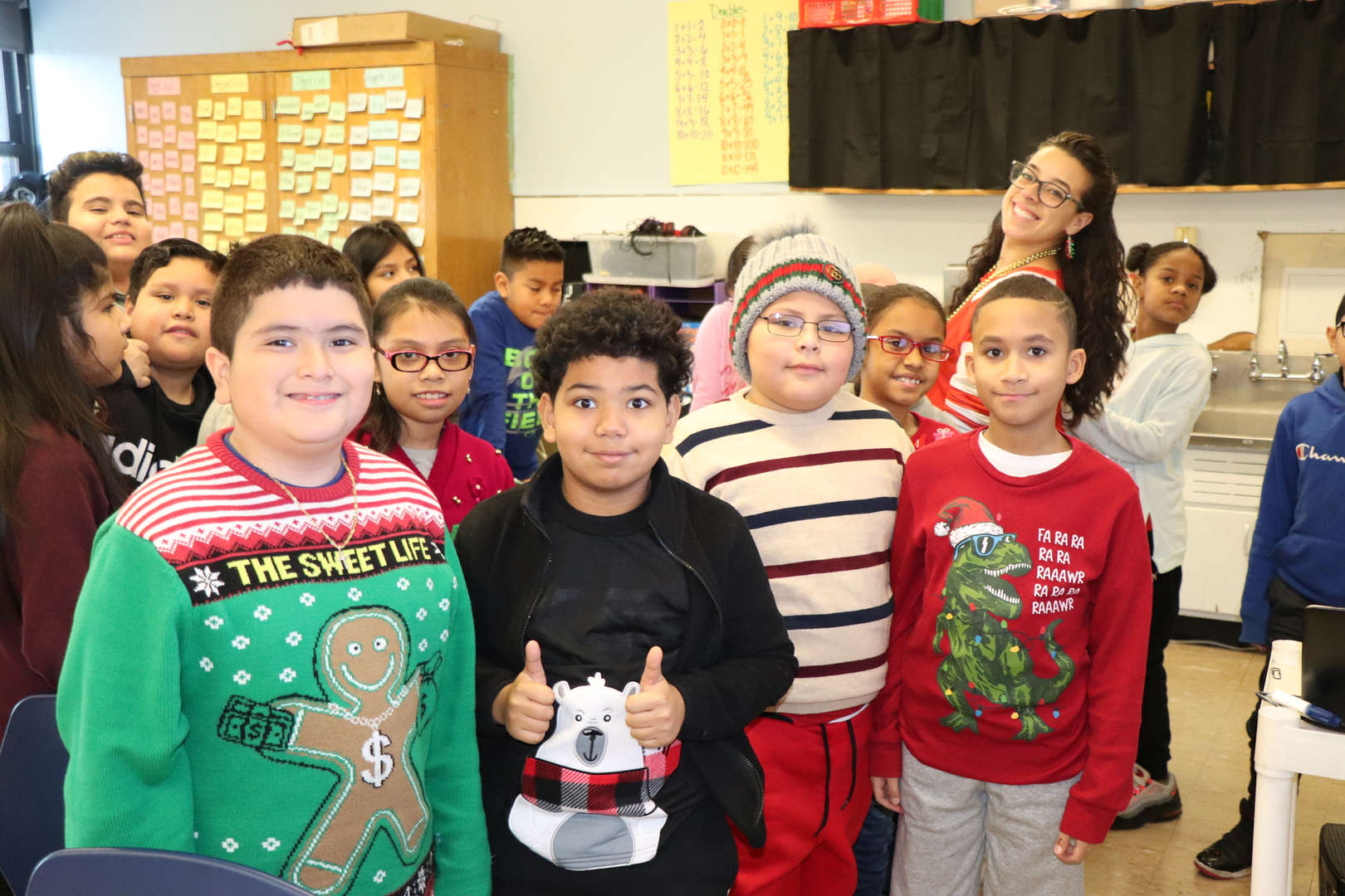 Ms. Parrino and her students.