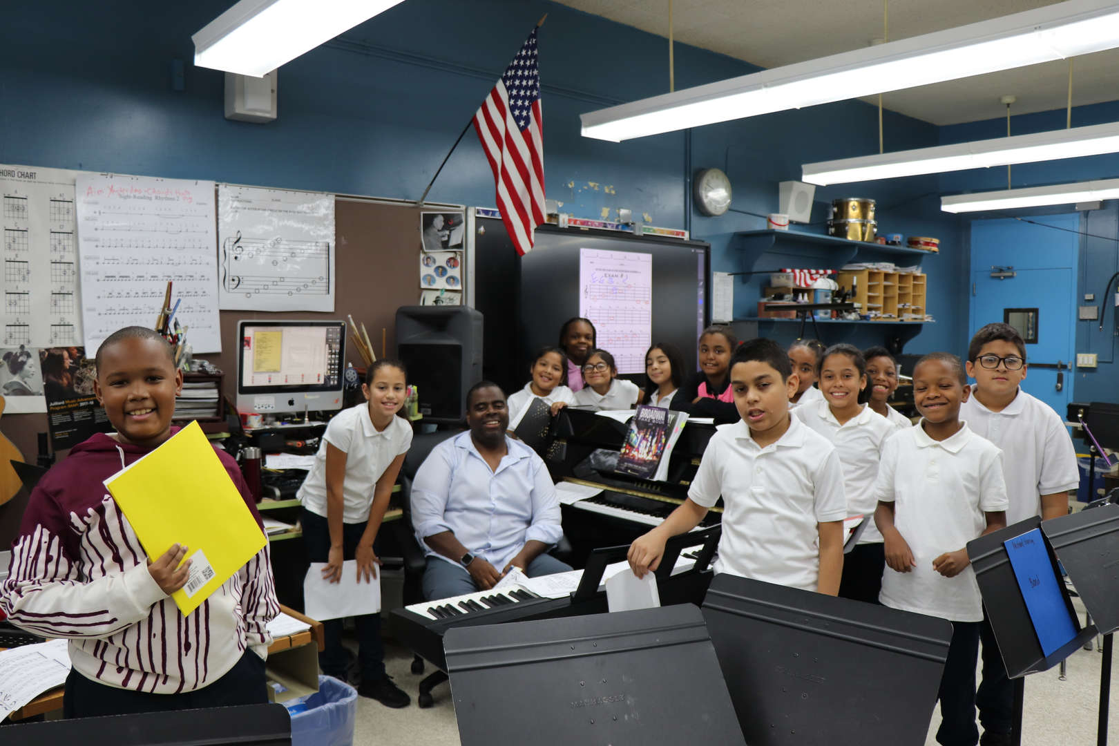 Fifth Graders in band with Mr. Singleton.