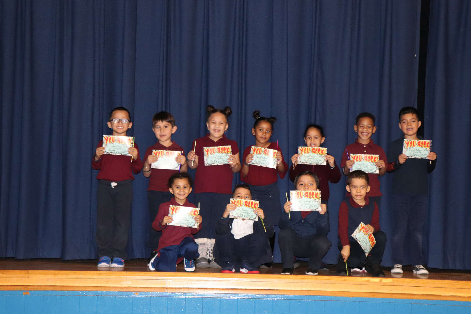 Kindergarten students of the month.