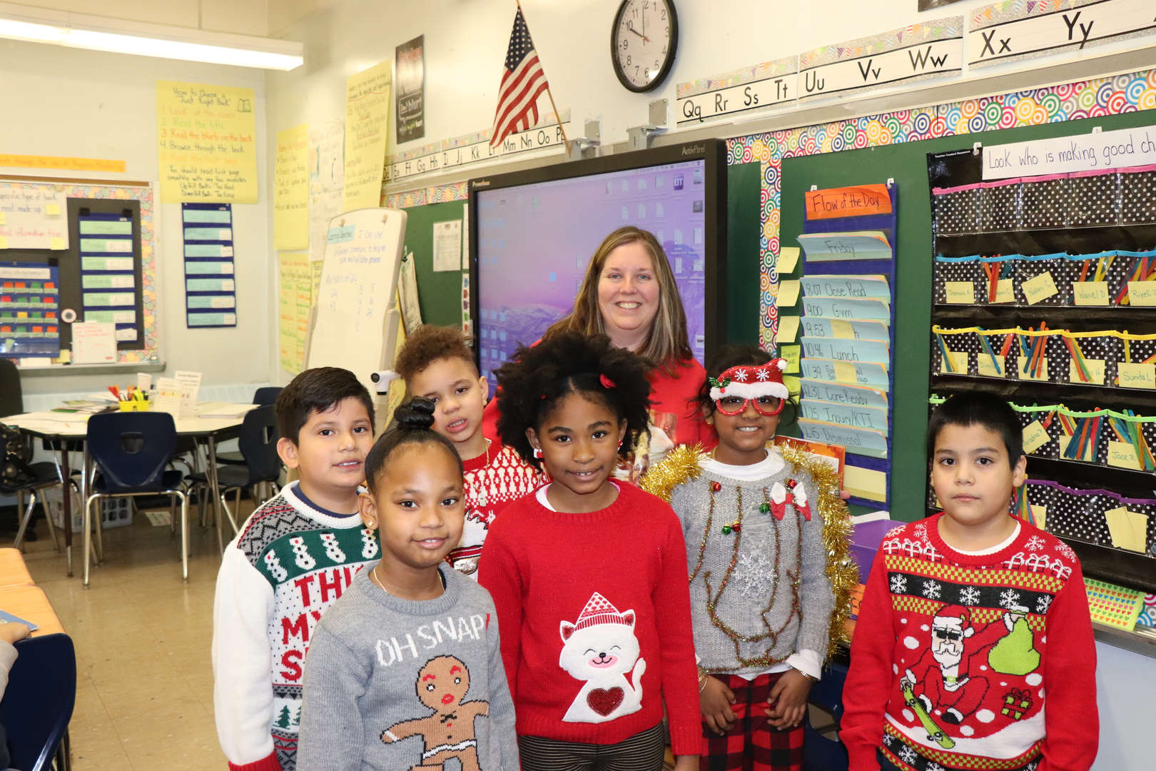 Ms. Gannon with some of her Third Grade students.