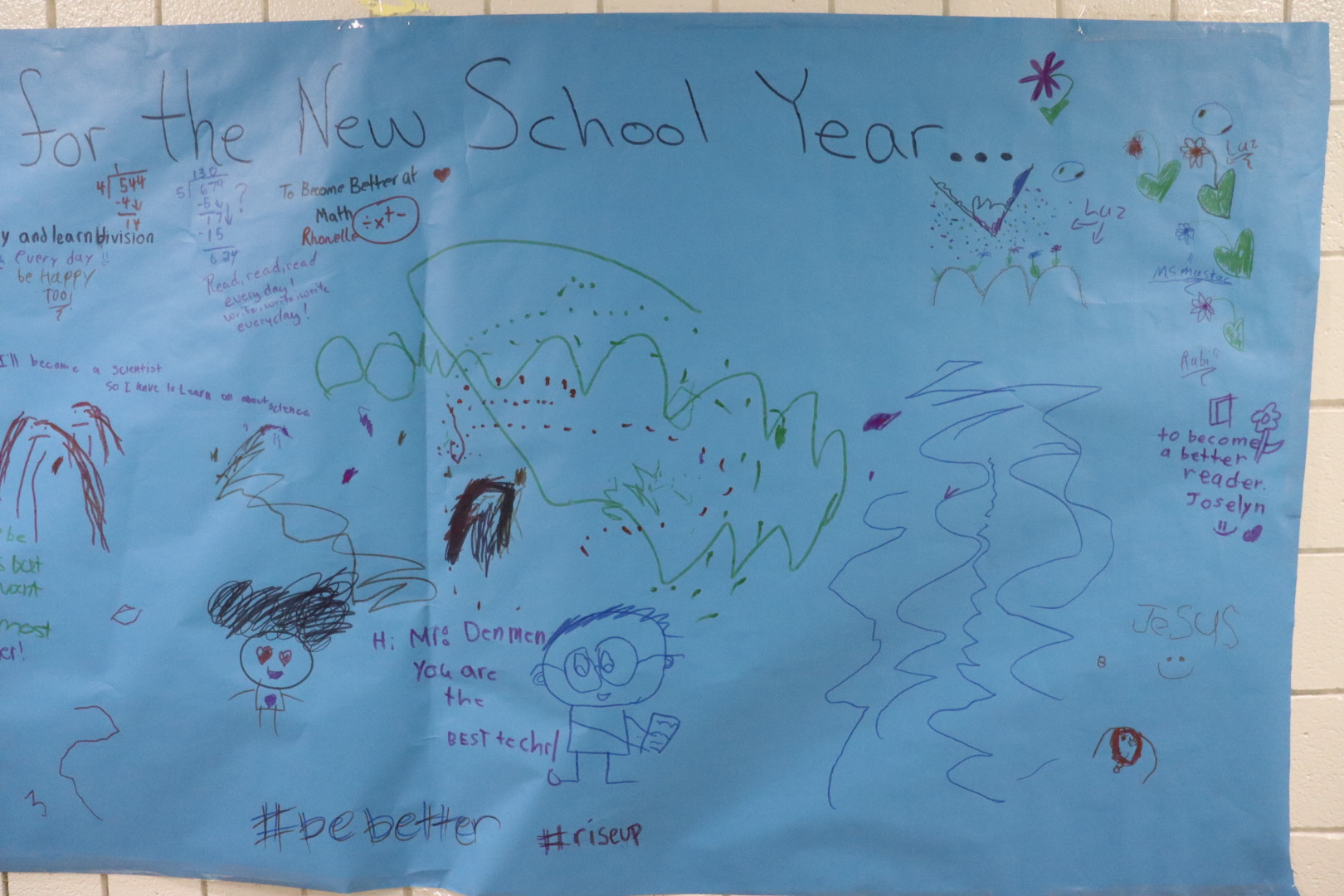 The goals for next year written by students.