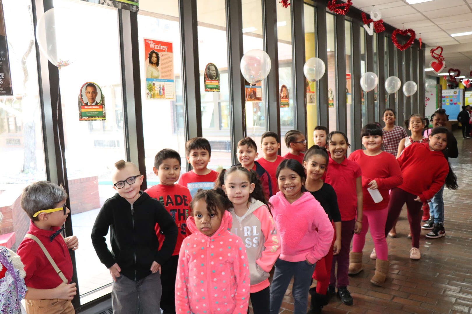 Second grade students celebrating 100 day and Valentine's Day.