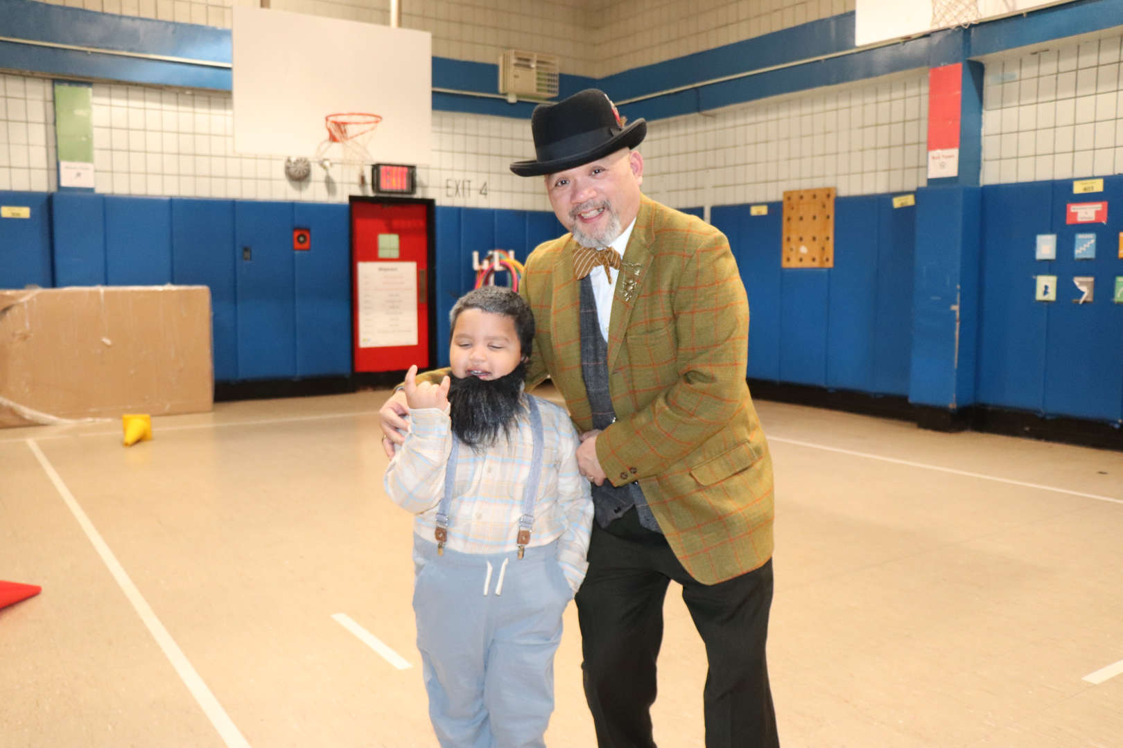 Mr. Yip and another student dressed like they are 100 years old.