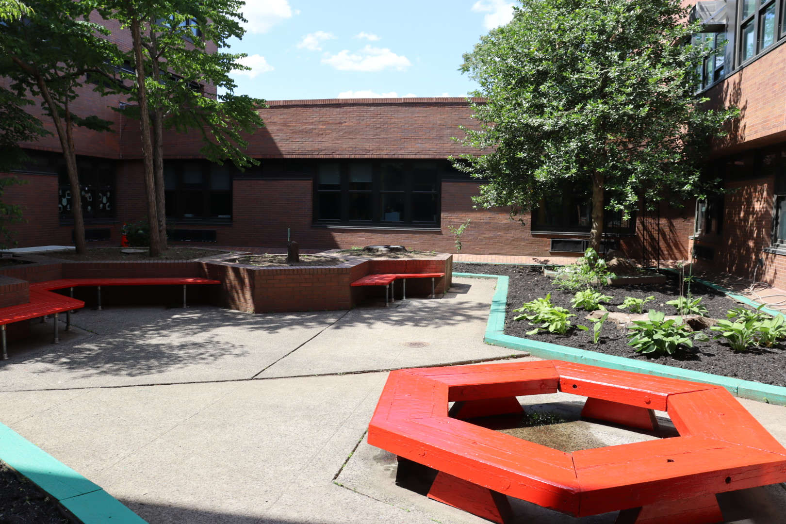 Courtyard where some classes eat snack