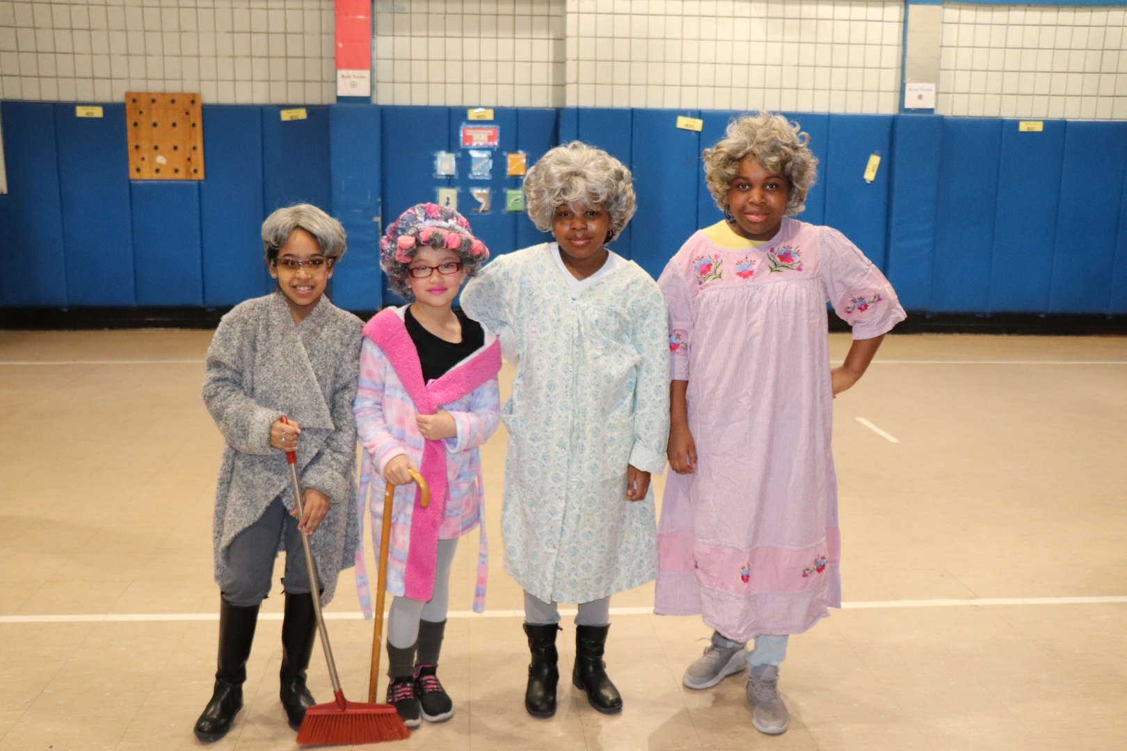 Some more students dressed up like they are 100 years old.