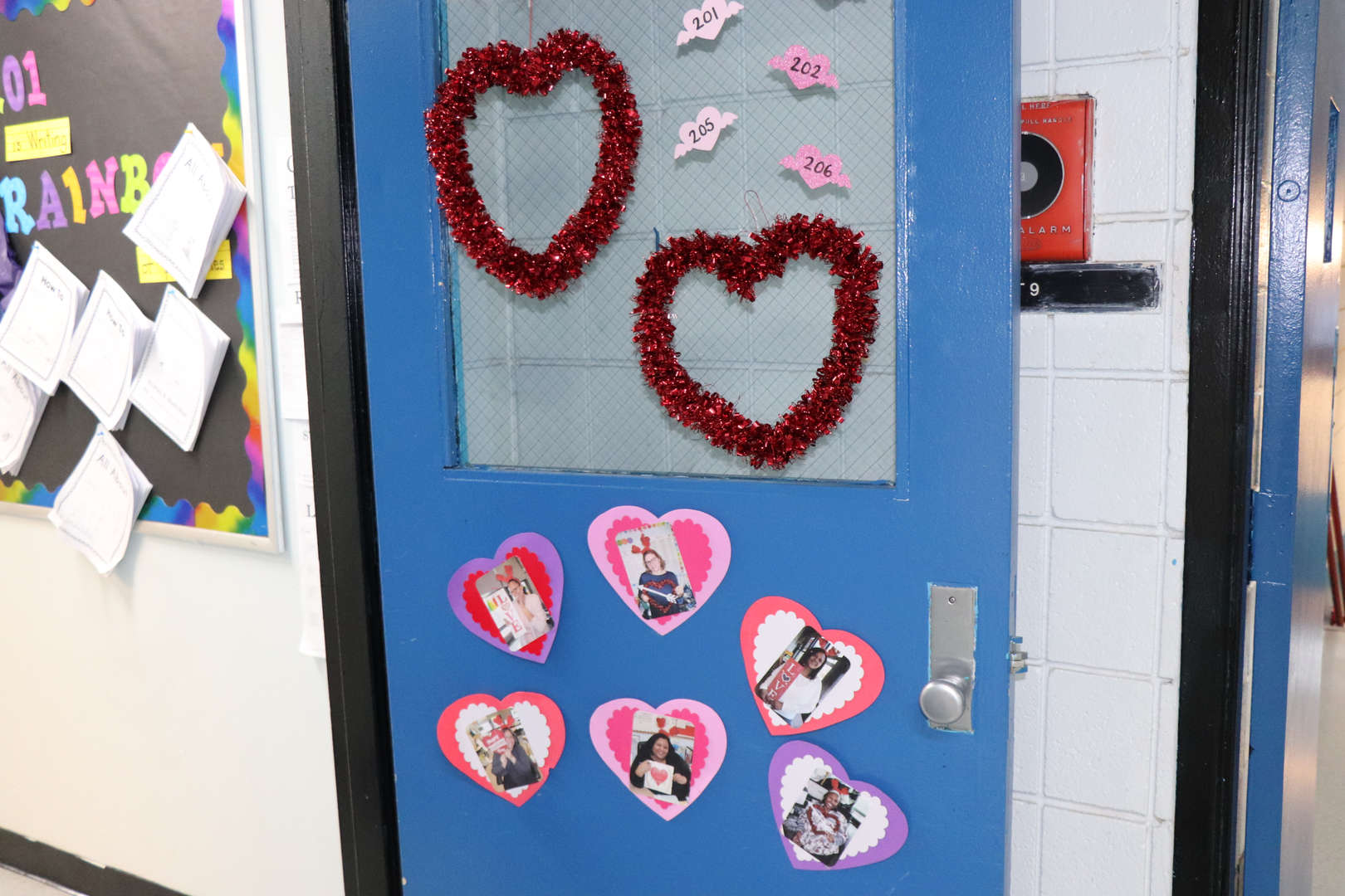 Classroom door decorated for Valentine's Day.
