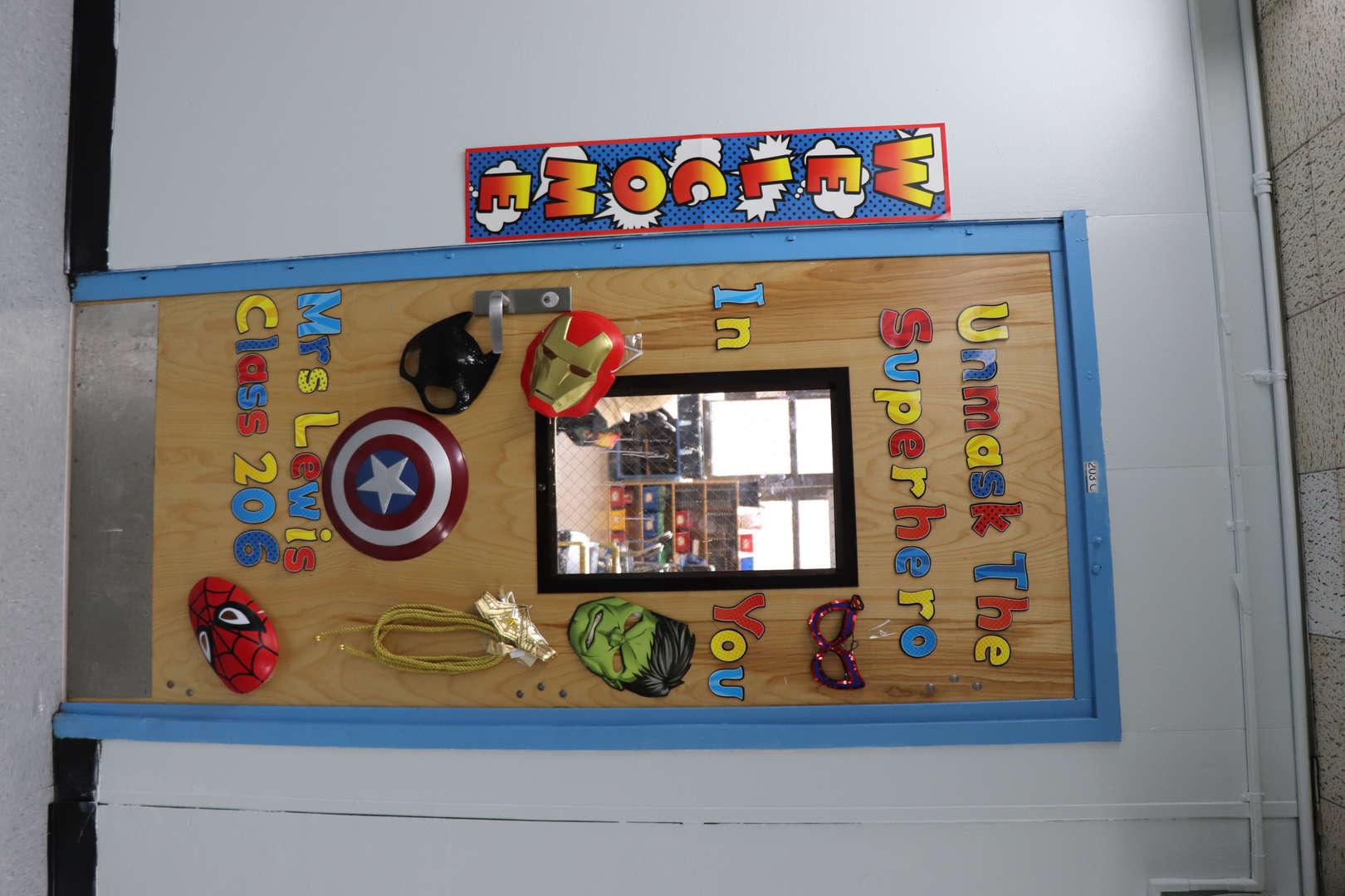 A Classroom's Marvel themed classroom door.