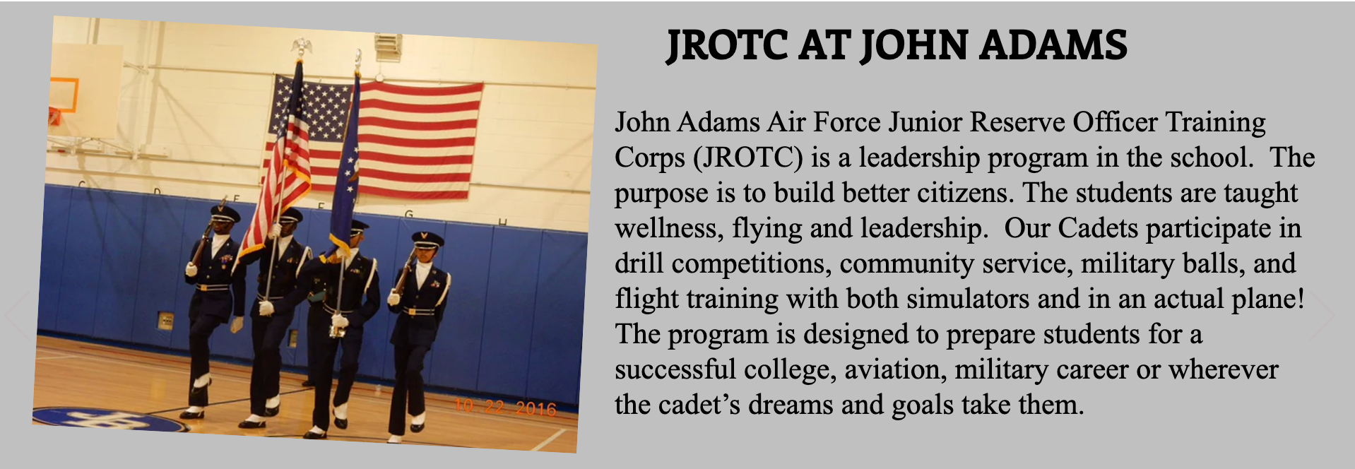 JROTC AT JOHN ADAMS