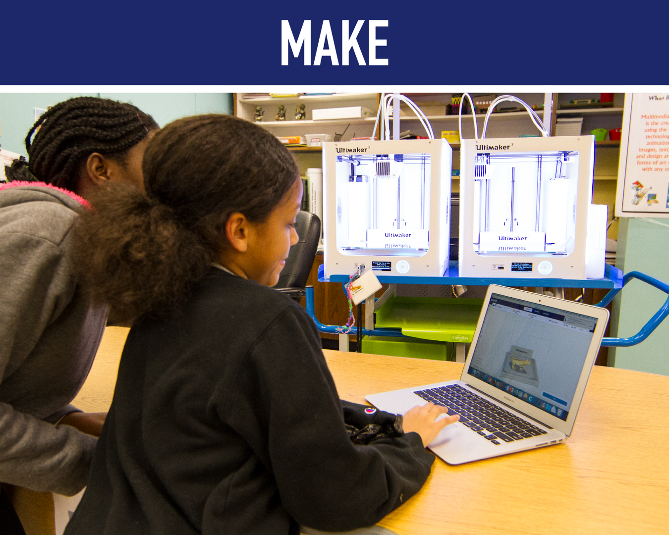 Make: Students at 3D printer