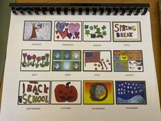 Back cover of student calendar showing art work for each month