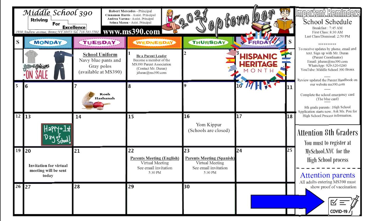 English September Calendar 2021