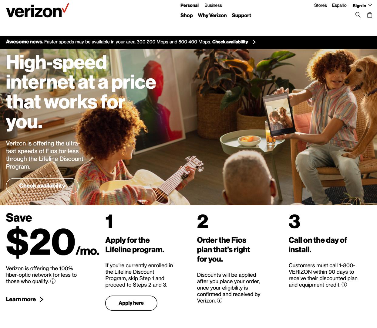 Verizon internet plans for families