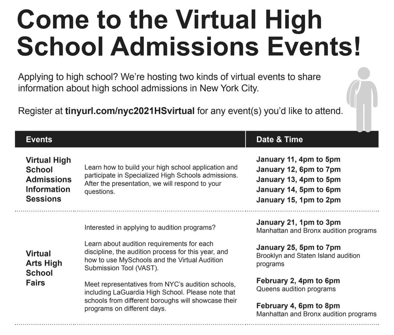DOE Virtual High School events flyer