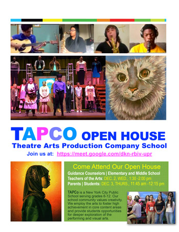 TAPCO Theatre School open house flyer