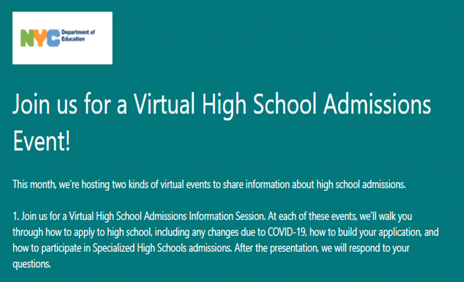 DOE Virtual High School Admissions Event