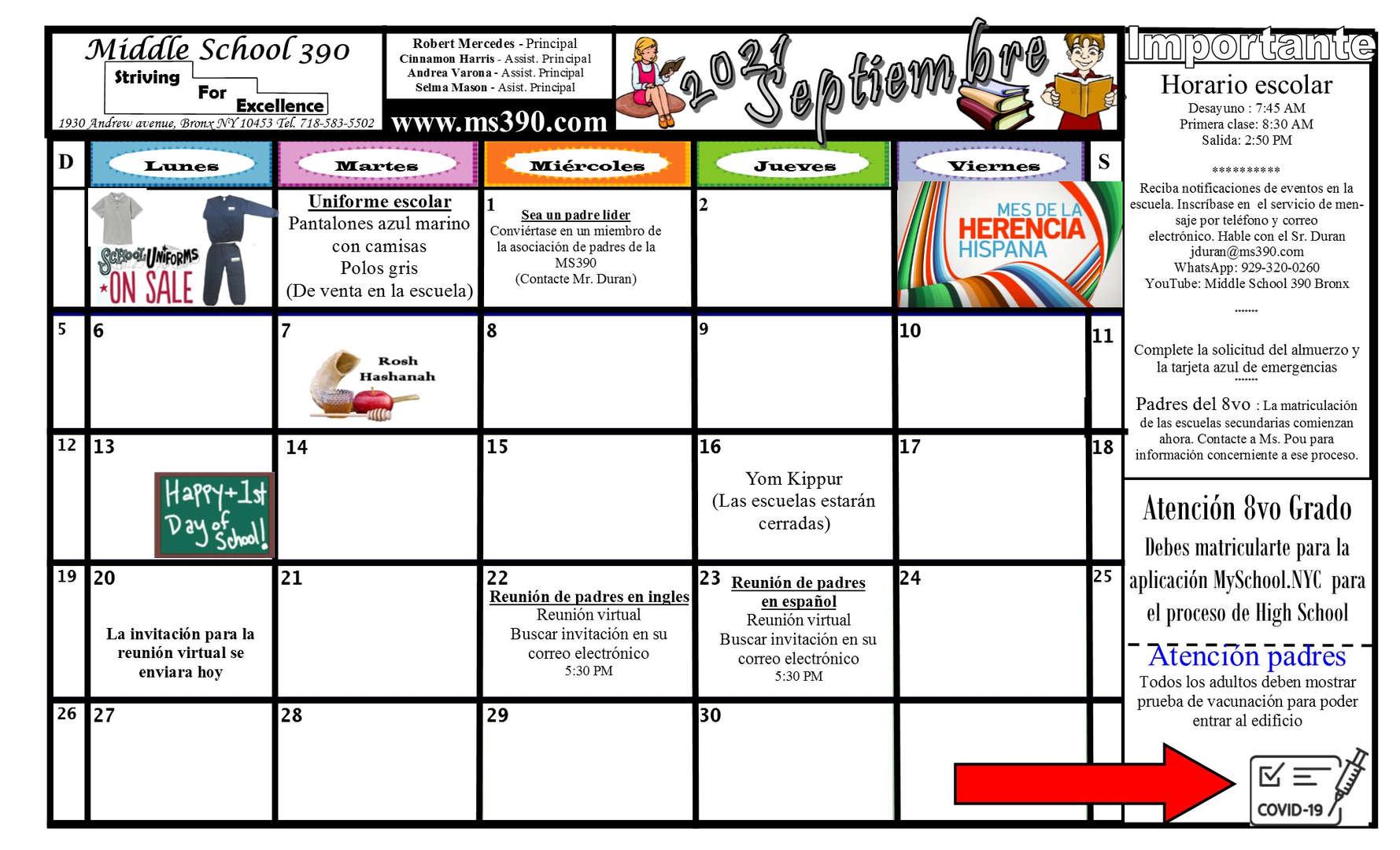 Spanish September Calendar 2021