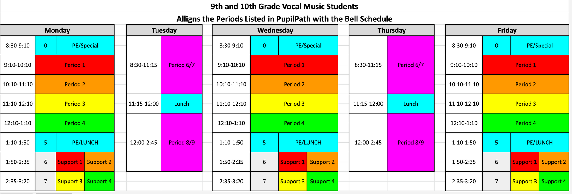 Vocal Bell Schedules Grades 9 and 10