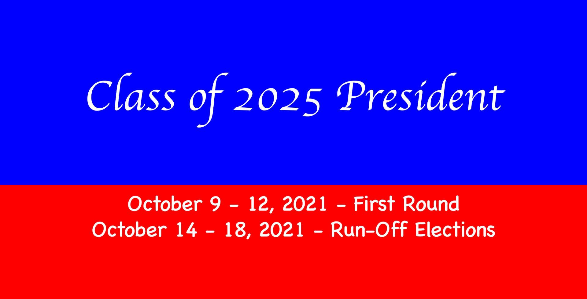 Freshmen President Election Dates