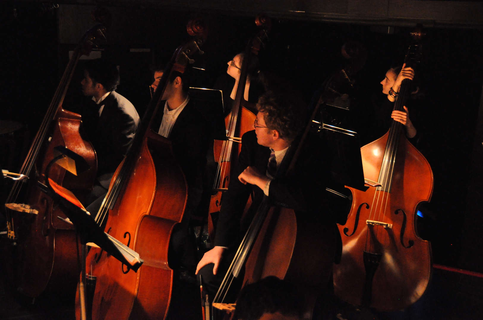 Orchestra students playing bass instruments