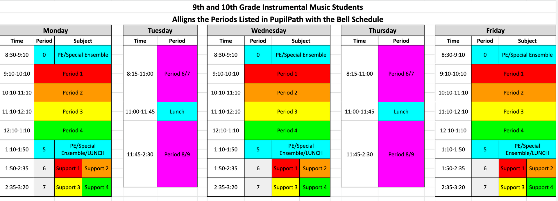 Instrumental Bell Schedule Grades 9 and 10