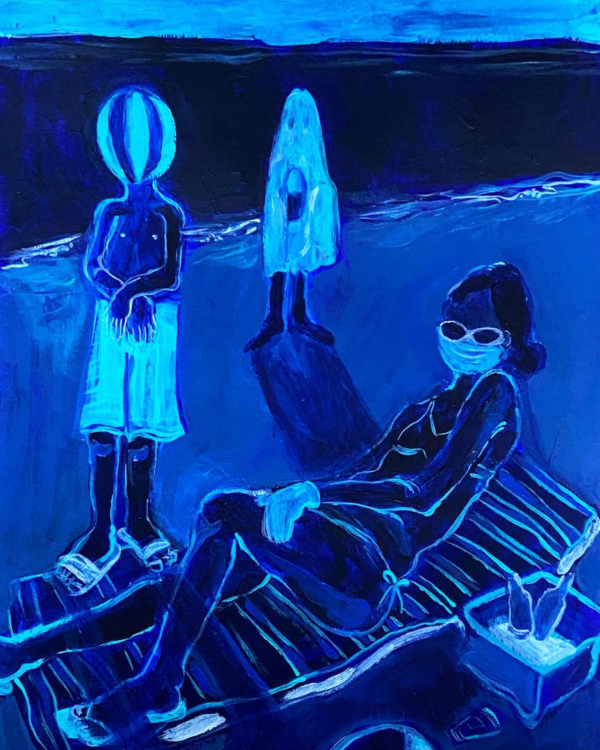 Three blue figures