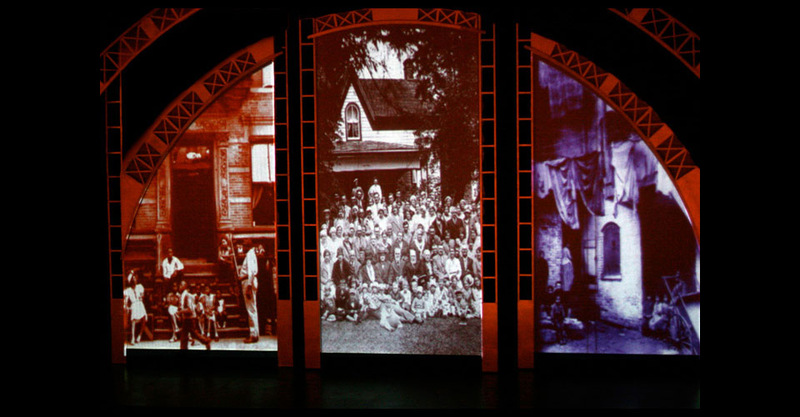 Opening Scrim with 3 projection panels
