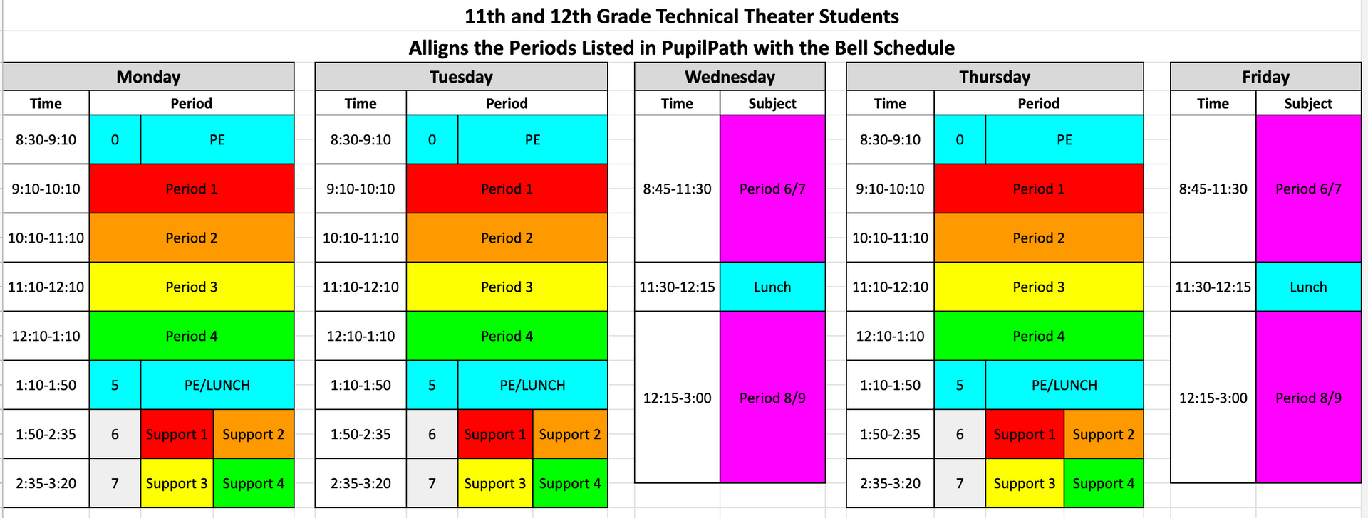 Tech Bell Schedules Grades 11 and 12